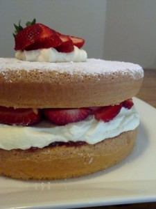 Strawberry Sponge Cake Close Up